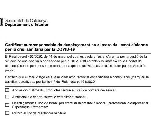 Certificat autoresponsable de desplaçament