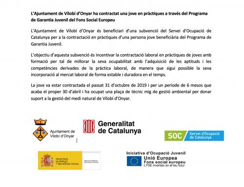 Contractada una jove en pràctiques a través del Programa de Garantia Juvenil del Fons Social Europeu